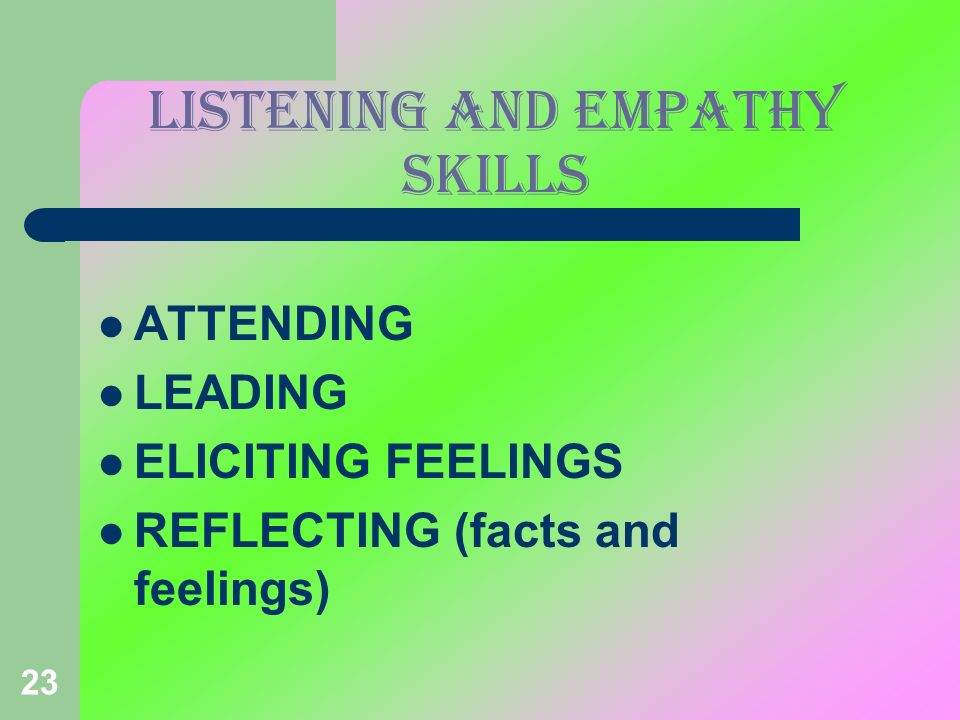 LISTENING AND EMPATHY SKILLS
