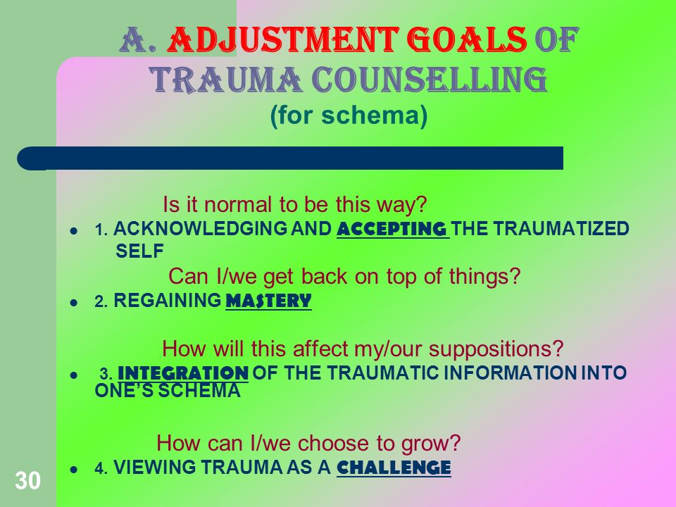 a. ADJUSTMENT GOALS OF TRAUMA COUNSELLING (for schema)