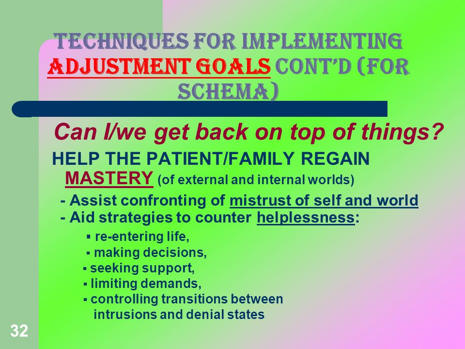 TECHNIQUES FOR IMPLEMENTING ADJUSTMENT GOALS CONT'D (FOR Schema)