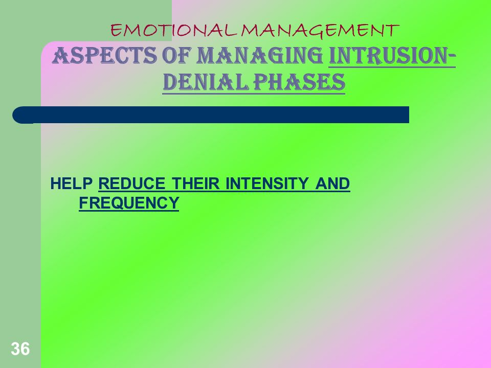 EMOTIONAL MANAGEMENT ASPECTS OF MANAGING INTRUSION-DENIAL PHASES
