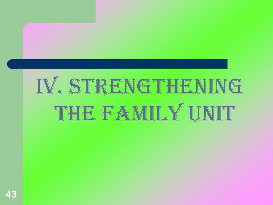 IV. STRENGTHENING THE FAMILY unit