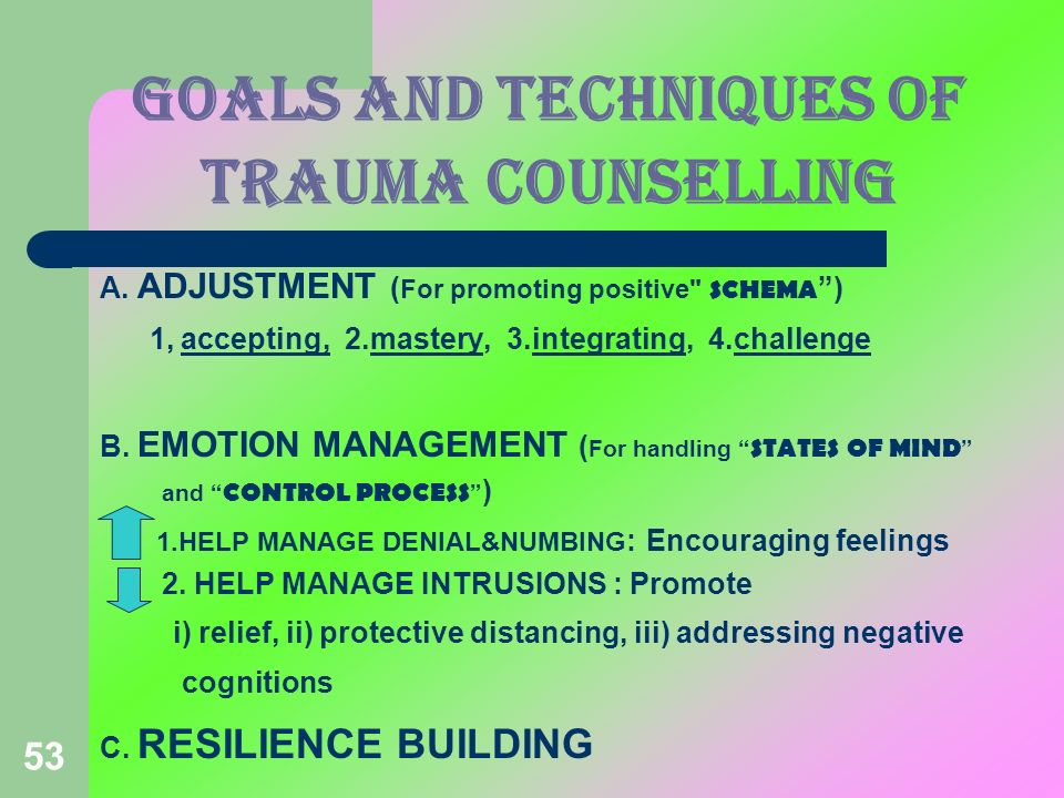 GOALS and techniques OF TRAUMA COUNSELLING