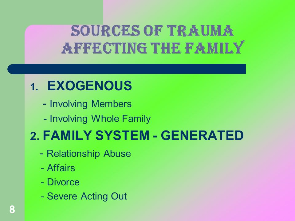 SOURCES OF TRAUMA affecting the family