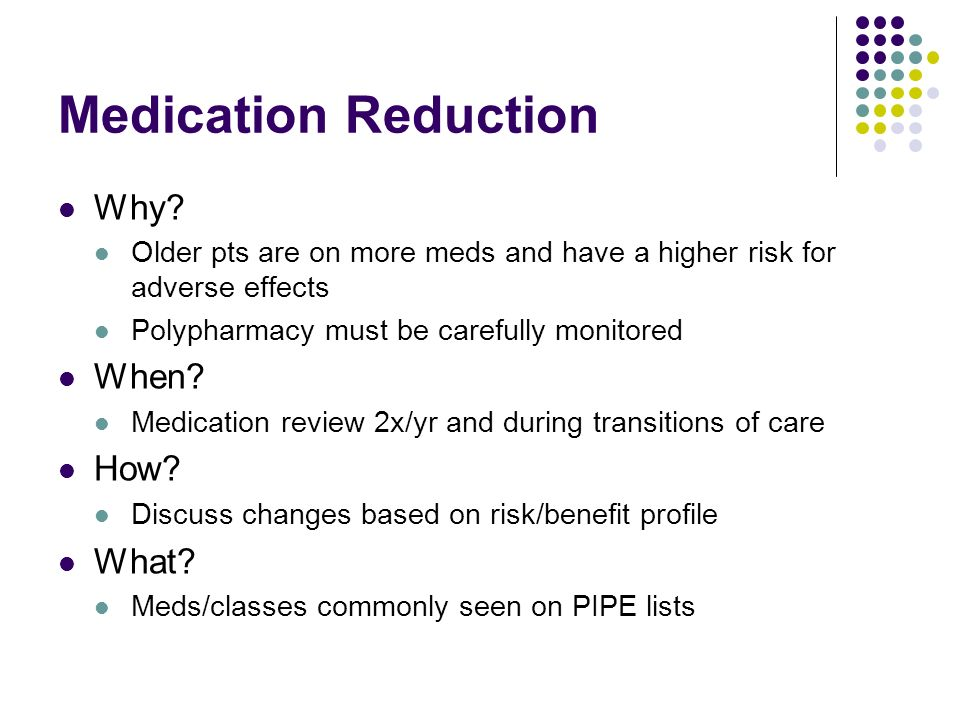 Medication Reduction Why When How What