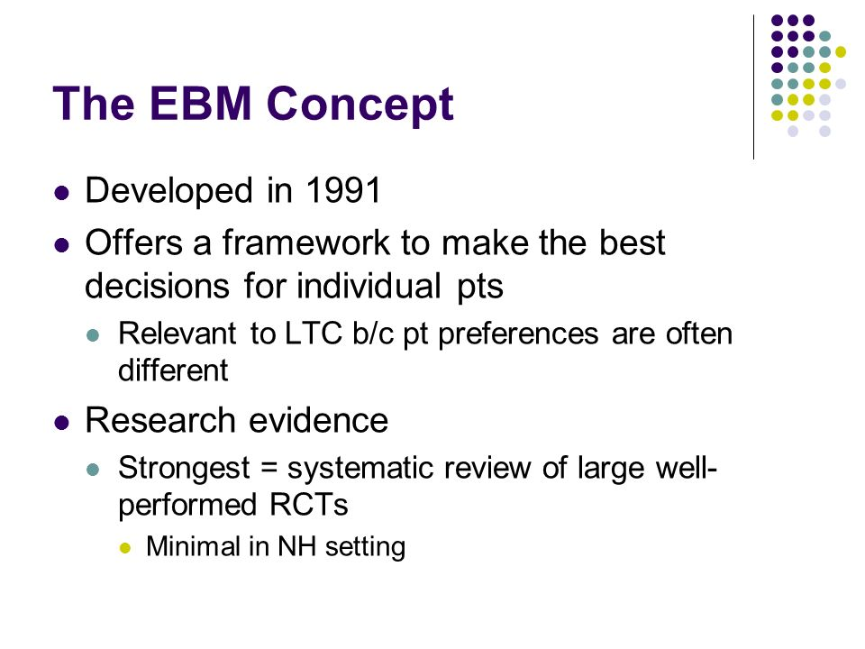 The EBM Concept Developed in 1991