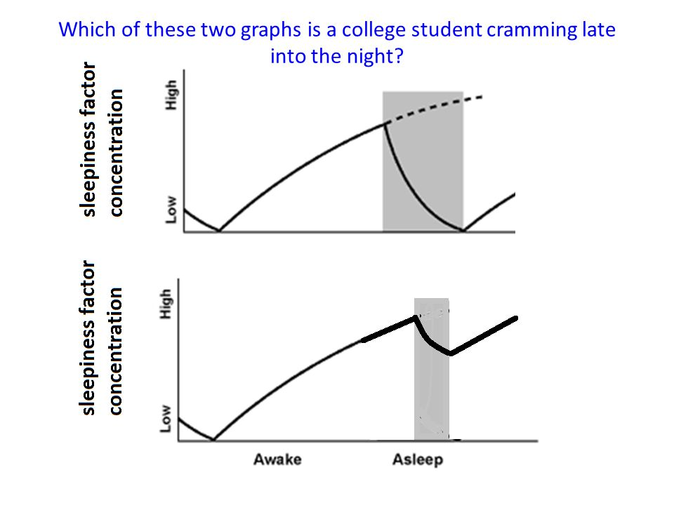 Which of these two graphs is a college student cramming late into the night