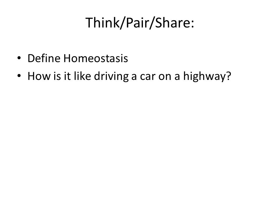Think/Pair/Share: Define Homeostasis