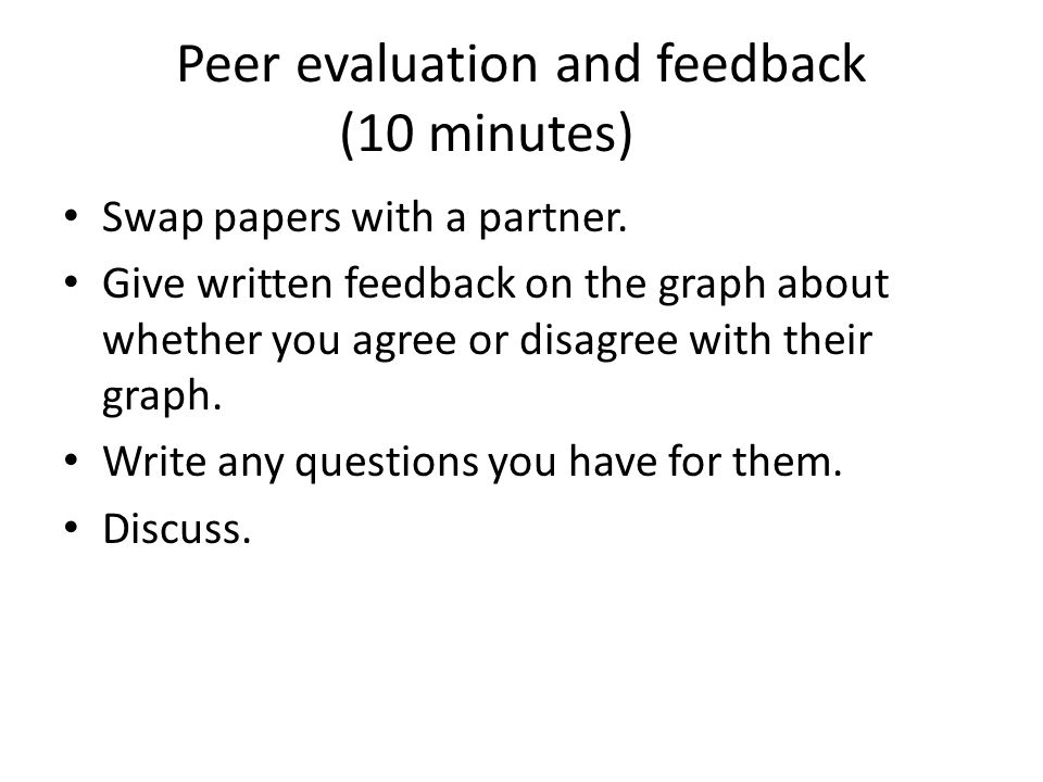 Peer evaluation and feedback (10 minutes)