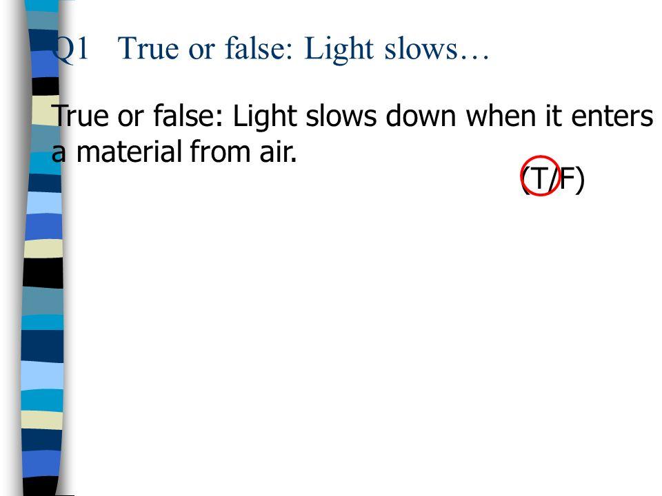 Q1 True or false: Light slows…