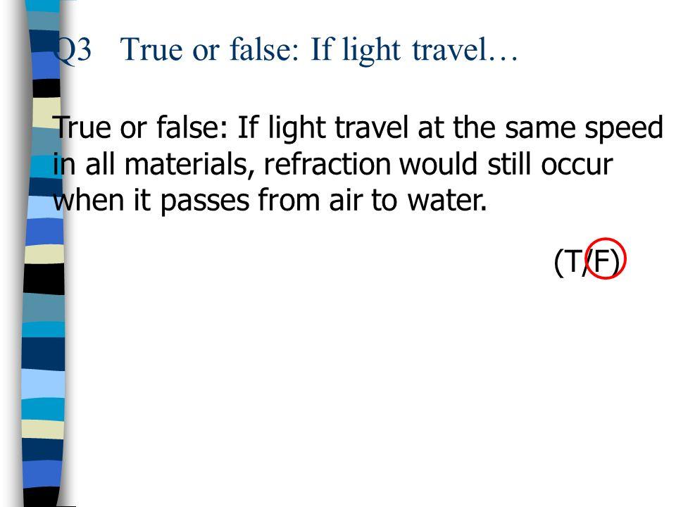 Q3 True or false: If light travel…