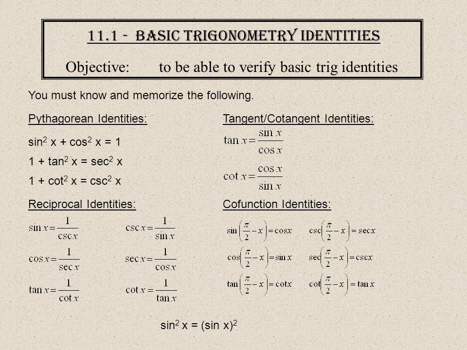 11.1 - Basic Trigonometry Identities