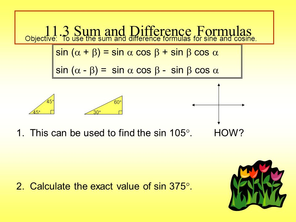 11.3 Sum and Difference Formulas