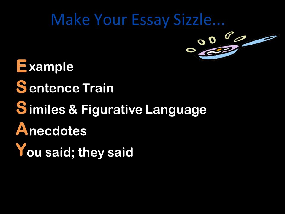 Make Your Essay Sizzle... E S A Y xamples entence Train