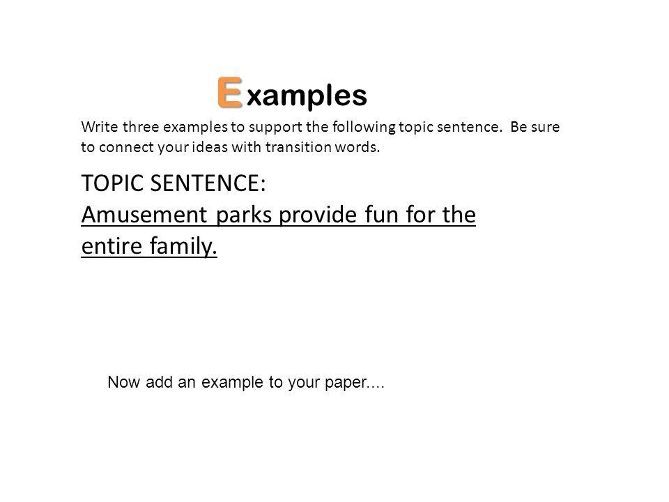 E xamples TOPIC SENTENCE: