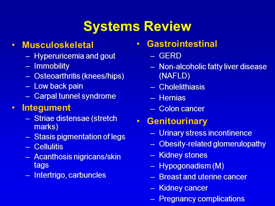Systems Review Gastrointestinal Musculoskeletal Integument