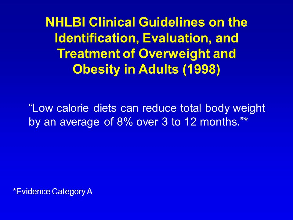 NHLBI Clinical Guidelines on the Identification, Evaluation, and Treatment of Overweight and Obesity in Adults (1998)
