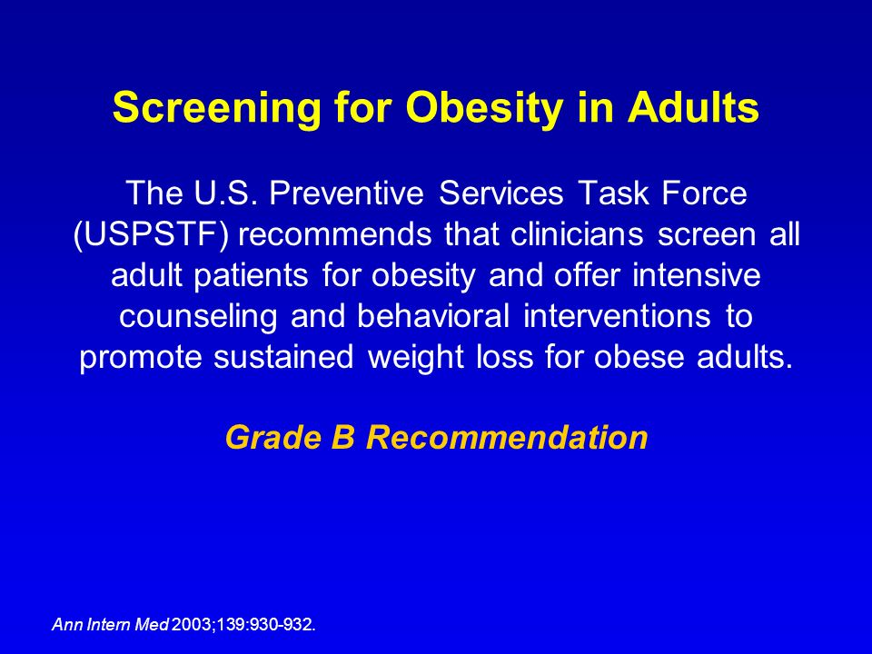 Screening for Obesity in Adults