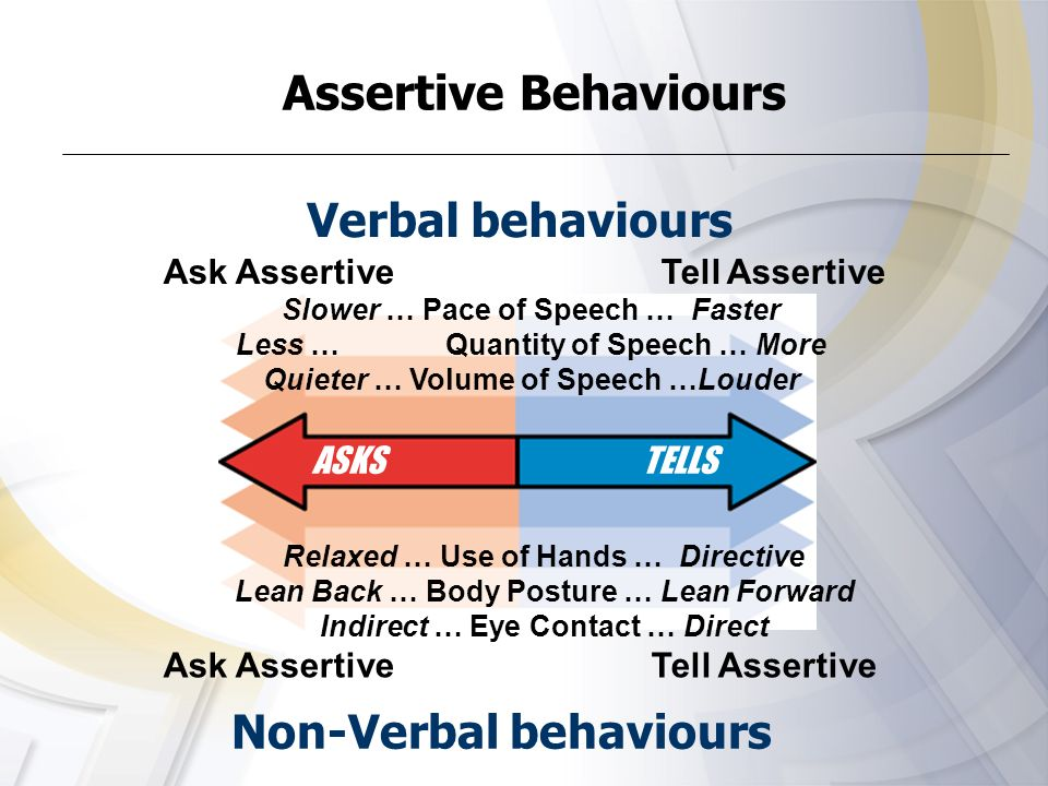 Assertive Behaviours Verbal behaviours Non-Verbal behaviours