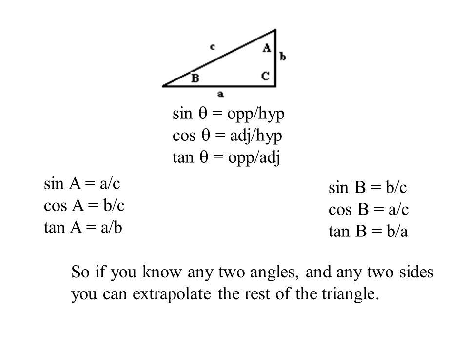 sin  = opp/hyp cos  = adj/hyp. tan  = opp/adj. sin A = a/c. cos A = b/c. tan A = a/b. sin B = b/c.