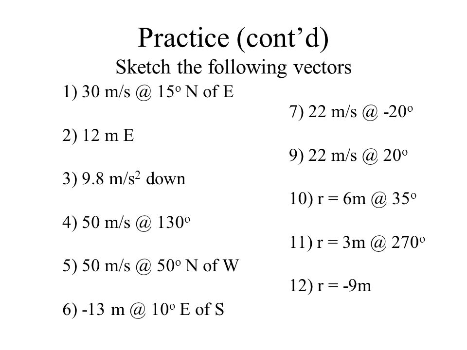 Practice (cont'd) Sketch the following vectors