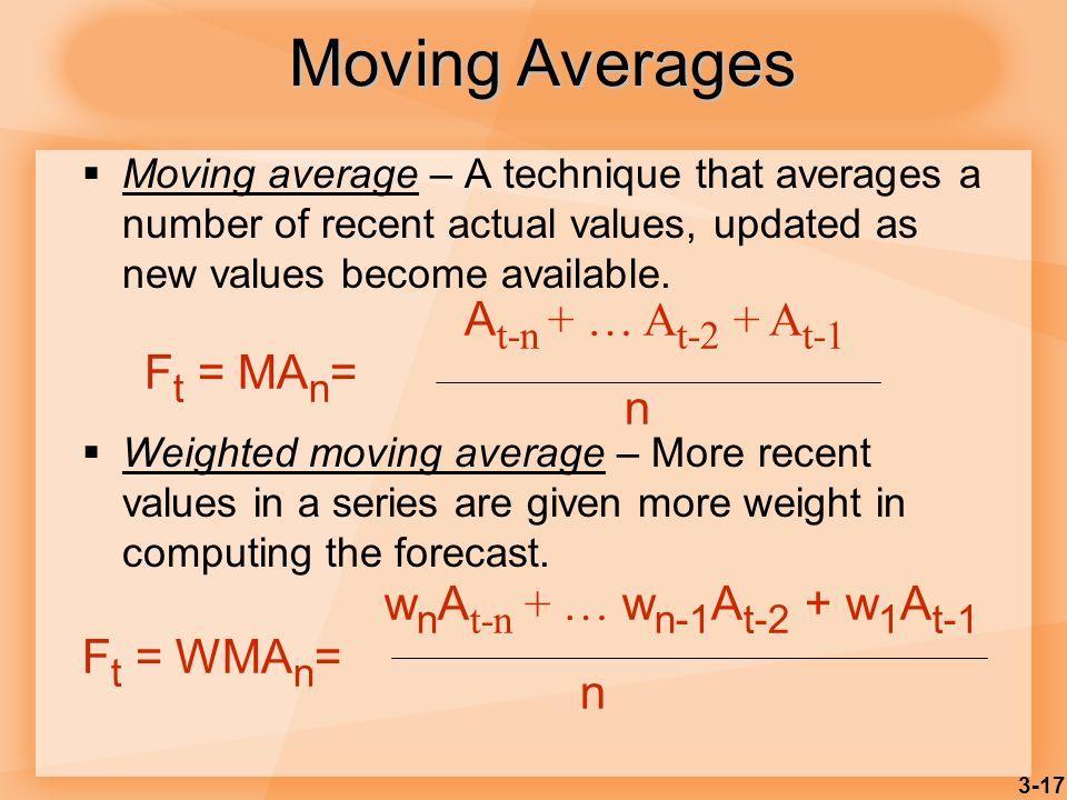 Moving Averages At-n + … At-2 + At-1 Ft = MAn= n