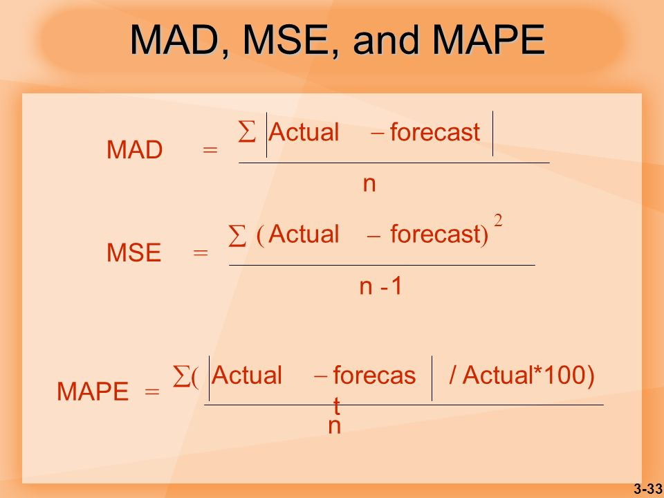 MAD, MSE, and MAPE  Actual  forecast MAD = n MSE = Actual forecast)