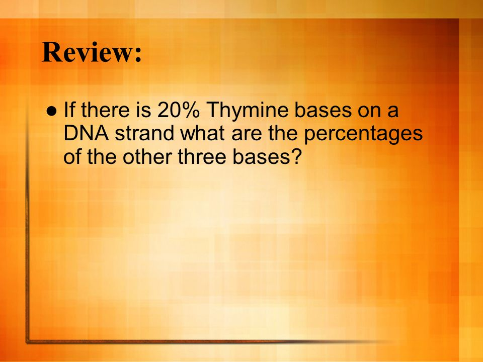 Review: If there is 20% Thymine bases on a DNA strand what are the percentages of the other three bases