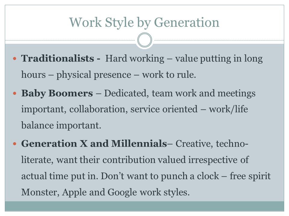 Work Style by Generation