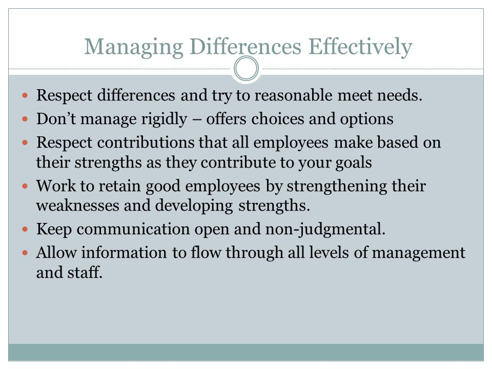 Managing Differences Effectively