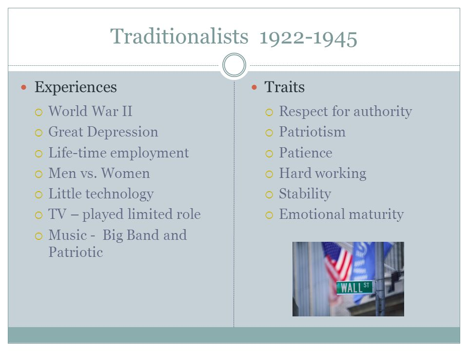 Traditionalists 1922-1945 Experiences Traits World War II