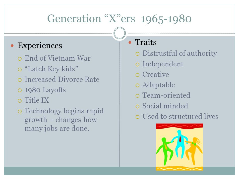 Generation X ers 1965-1980 Experiences Traits