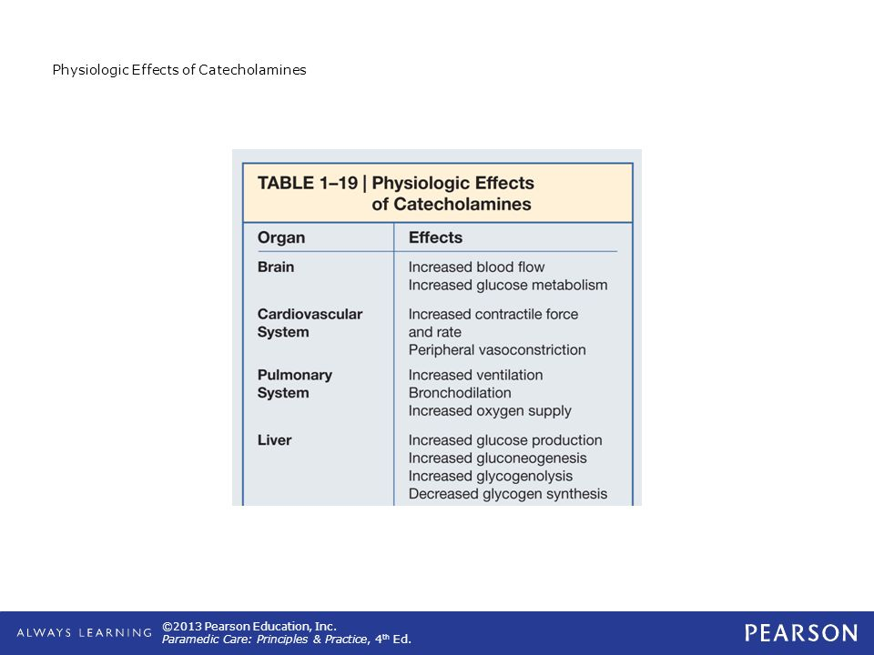 Physiologic Effects of Catecholamines