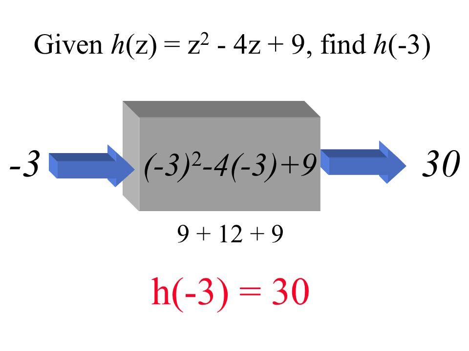 Given h(z) = z2 - 4z + 9, find h(-3)