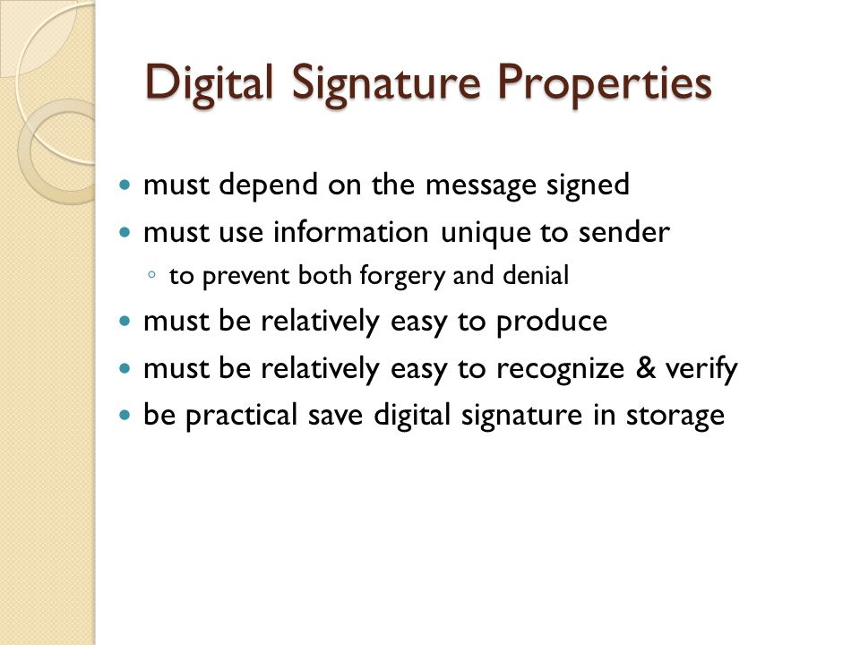 Digital Signature Properties