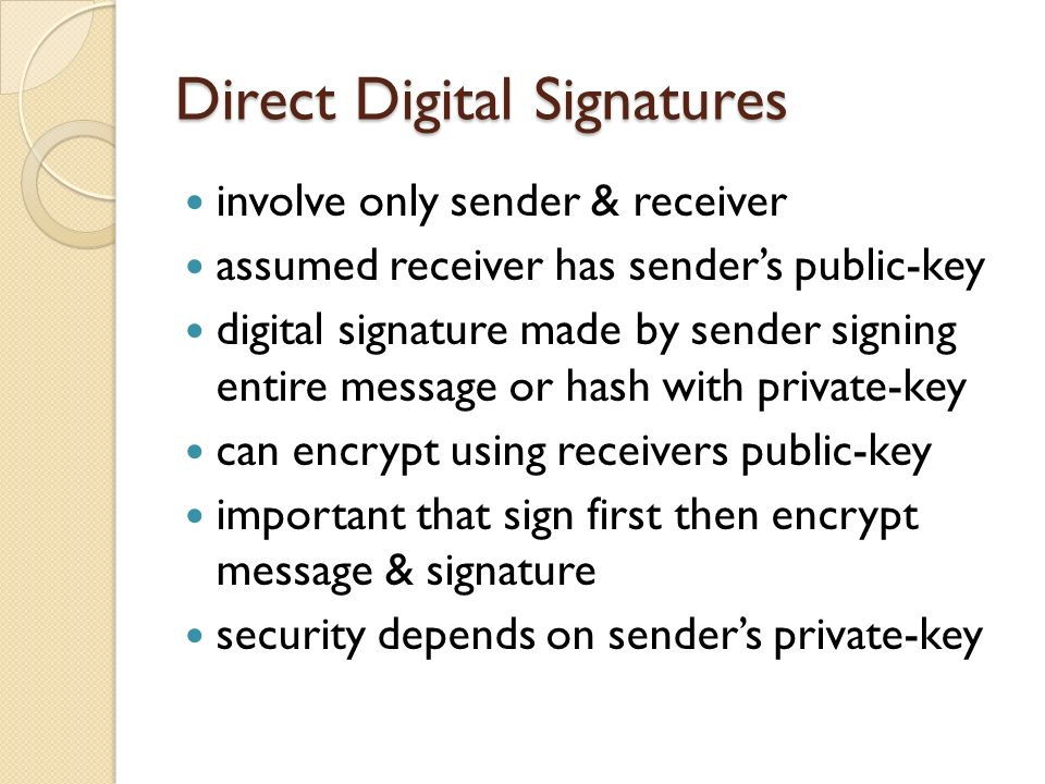 Direct Digital Signatures