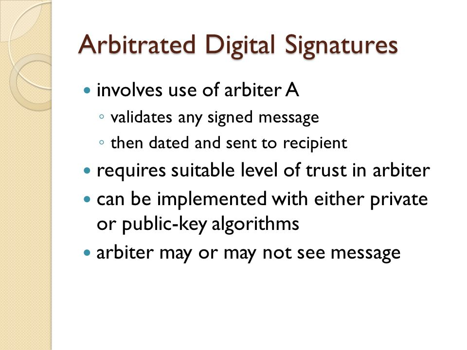 Arbitrated Digital Signatures