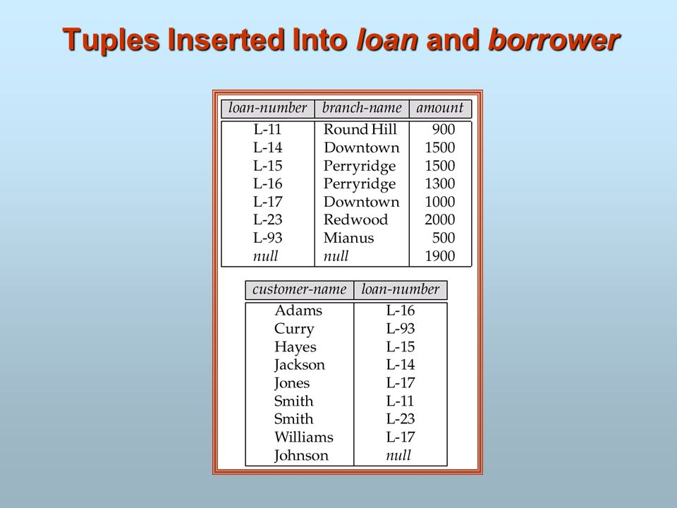 Tuples Inserted Into loan and borrower