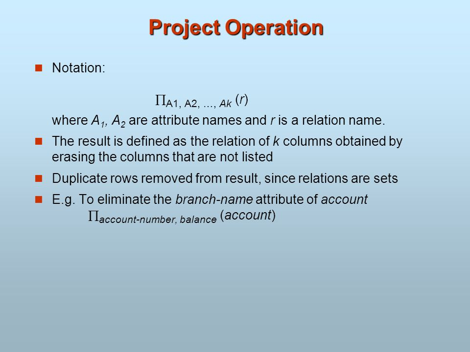 Project Operation Notation: A1, A2, …, Ak (r)