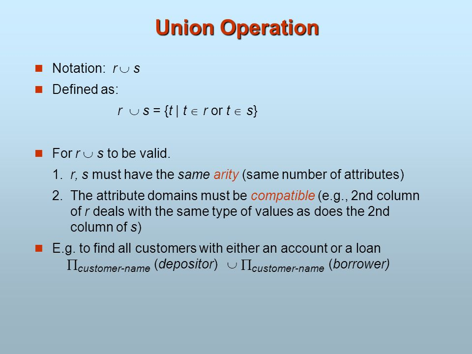 Union Operation Notation: r  s Defined as: