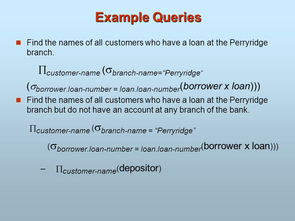 Example Queries Find the names of all customers who have a loan at the Perryridge branch. customer-name (branch-name= Perryridge