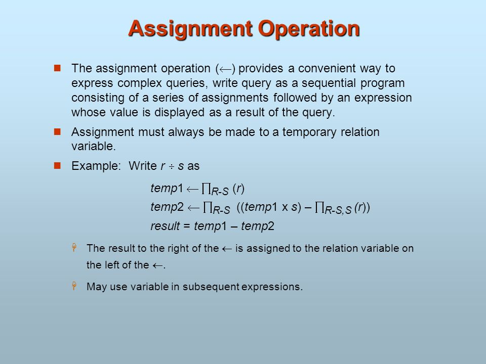 Assignment Operation