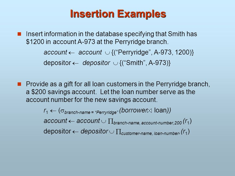 Insertion Examples Insert information in the database specifying that Smith has $1200 in account A-973 at the Perryridge branch.