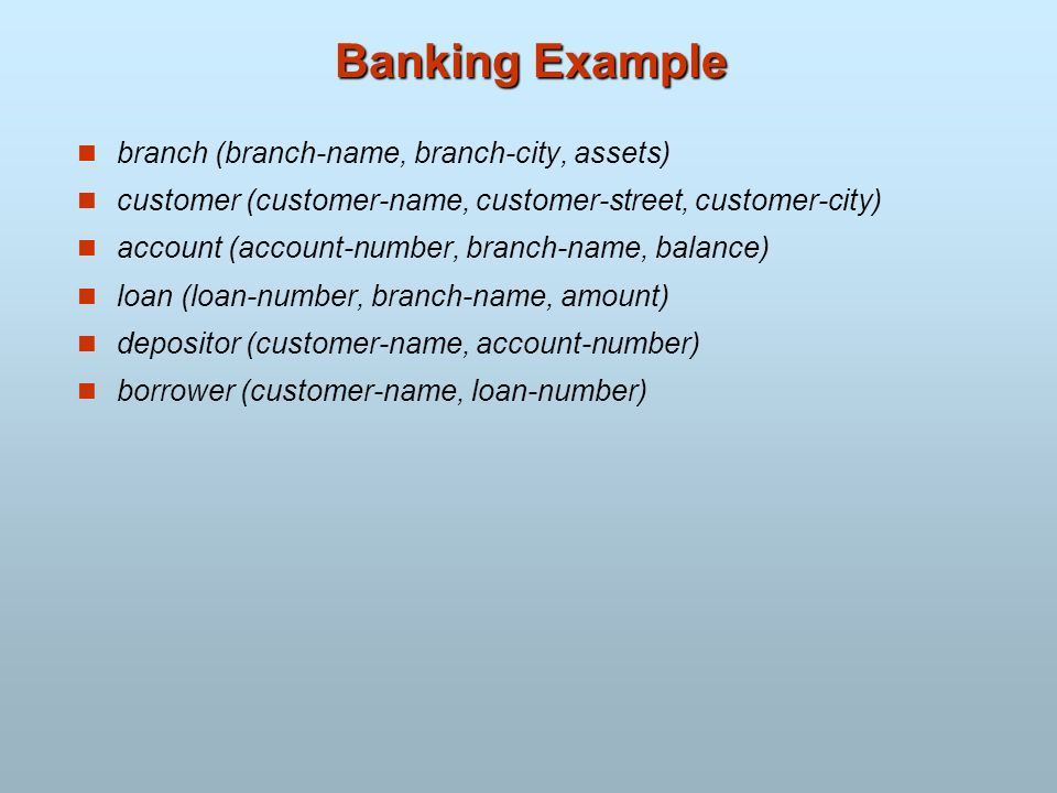 Banking Example branch (branch-name, branch-city, assets)