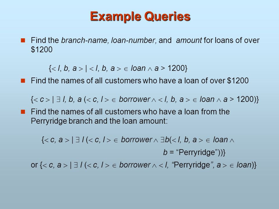 Example Queries Find the branch-name, loan-number, and amount for loans of over $1200 { l, b, a  |  l, b, a   loan  a > 1200}