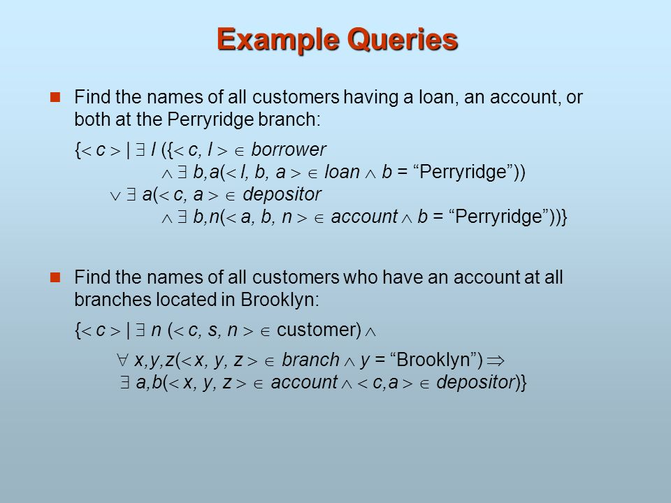 Example Queries Find the names of all customers having a loan, an account, or both at the Perryridge branch: