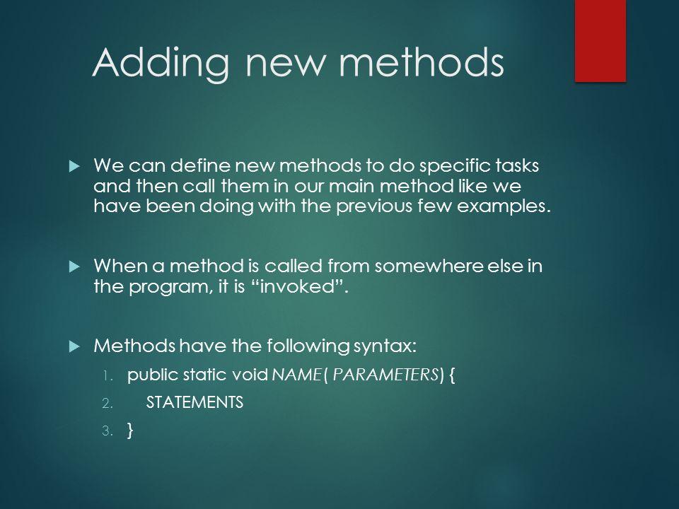 Adding new methods