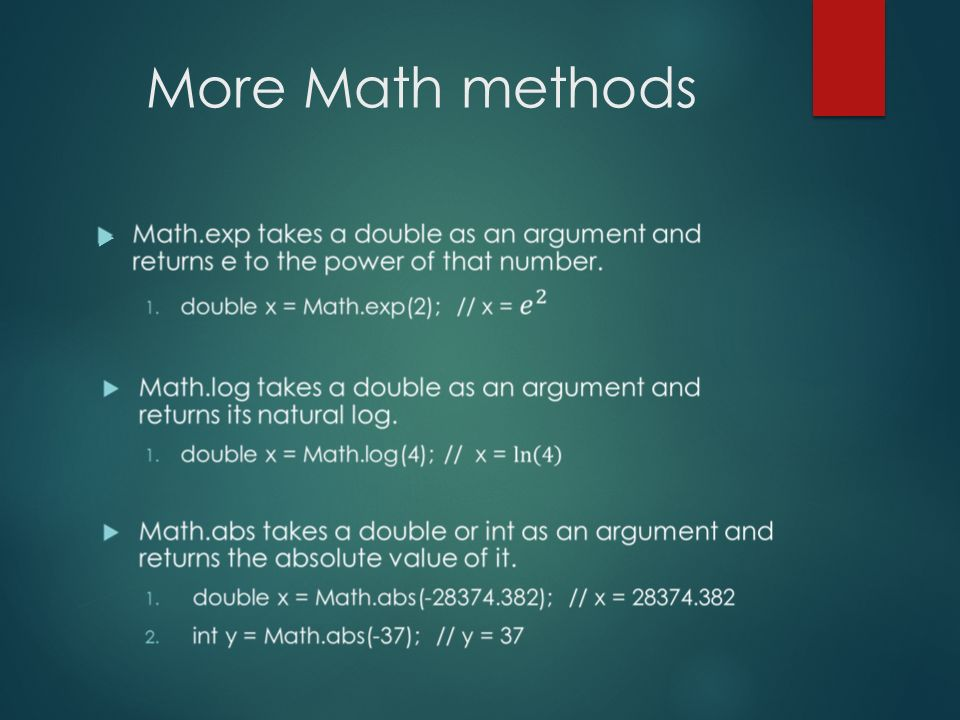 More Math methods