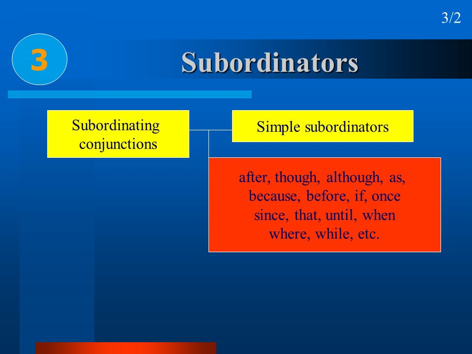 3 Subordinators 3/2 Subordinating Simple subordinators conjunctions