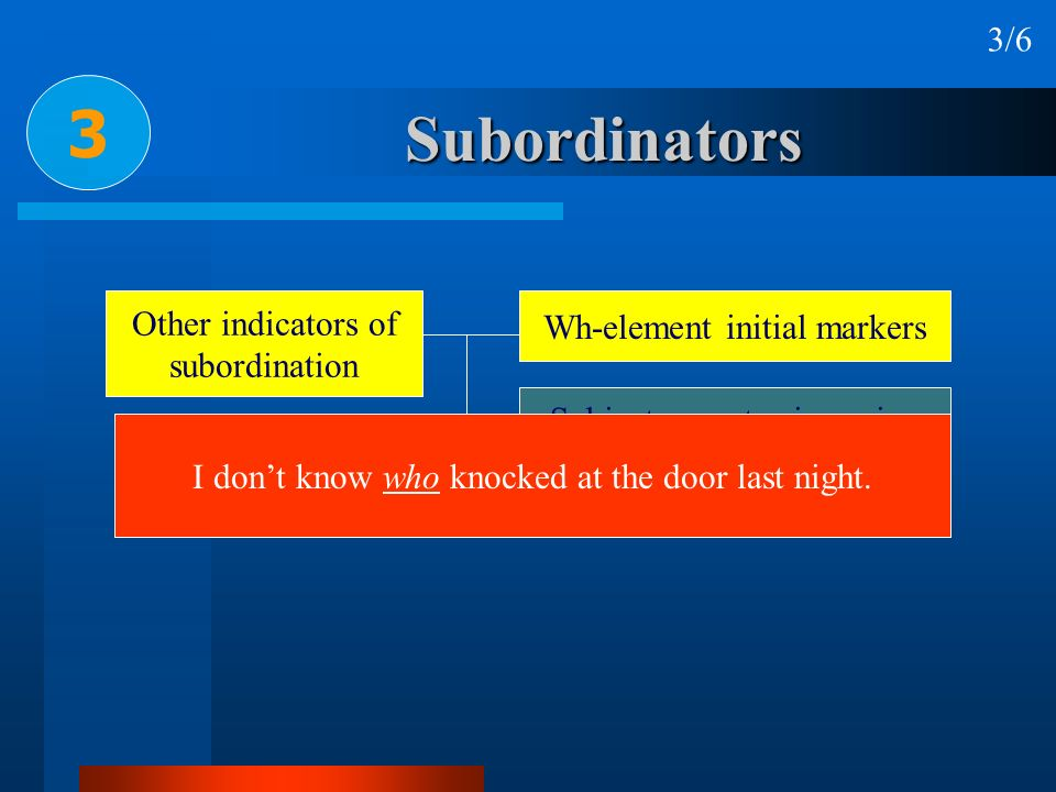 3 Subordinators 3/6 Other indicators of Wh-element initial markers