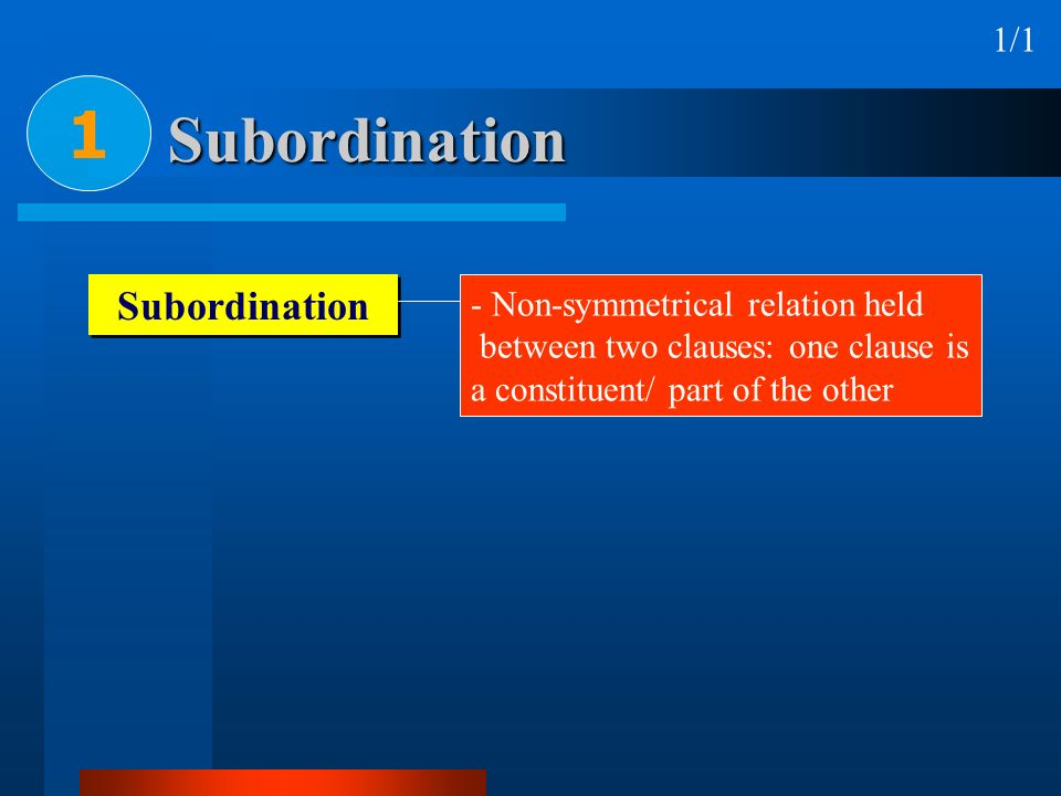 1 Subordination Subordination 1/1 Non-symmetrical relation held